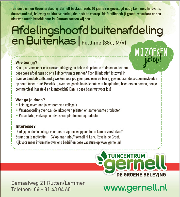 vacature tuincentrum gernell